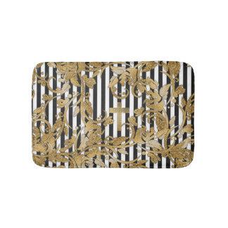 Chic gold faux glitter flowers vintage stripes bath mat