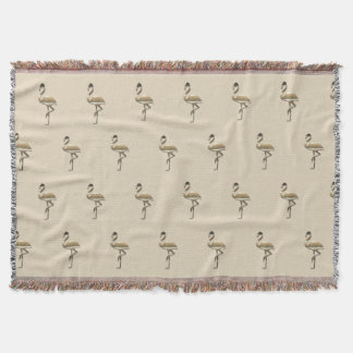 Chic Gold Flamingo Pattern Throw Blanket
