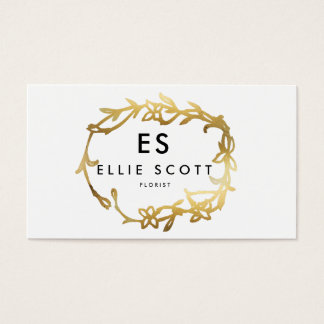 Chic Gold Floral Frame | Bold Business Business Card