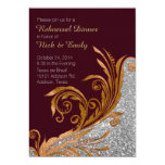 "Chic Gold Flourish Wedding Rehearsal Dinner 5"" X 7"" Invitation Card"