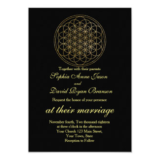 Chic Gold Flower of Life Sacred Geometry Wedding Card