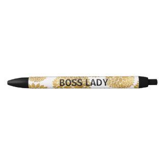 Chic Gold Flowers Black Ink Pen