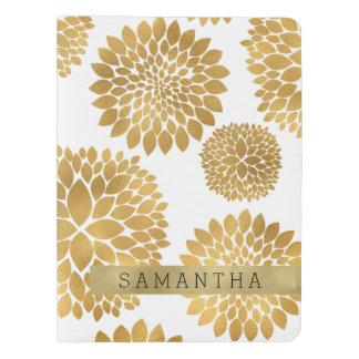 Chic Gold Flowers Extra Large Moleskine Notebook
