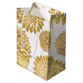 Chic Gold Flowers Medium Gift Bag