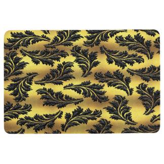 Chic Gold Foil Black Glitter Leaves Floor Mat