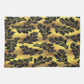 Chic Gold Foil Black Glitter Leaves Kitchen Towel