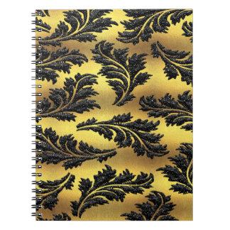 Chic Gold Foil Black Glitter Leaves Notebooks