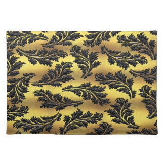 Chic Gold Foil Black Glitter Leaves Placemat