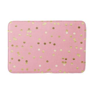 Chic Gold Foil Confetti Light Pink Bath Mat