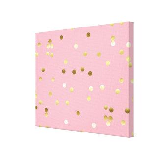 Chic Gold Foil Confetti Light Pink Canvas Print