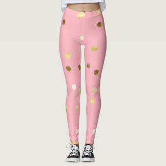 Chic Gold Foil Confetti Light Pink Leggings