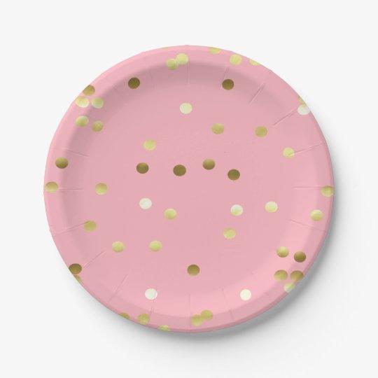 Chic Gold Foil Confetti Light Pink Paper Plate