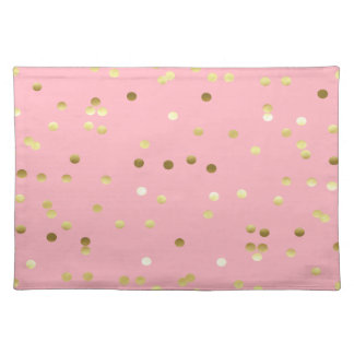 Chic Gold Foil Confetti Light Pink Placemat