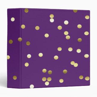 Chic Gold Foil Confetti Purple Binder
