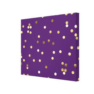 Chic Gold Foil Confetti Purple Canvas Print