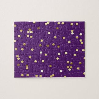 Chic Gold Foil Confetti Purple Jigsaw Puzzle