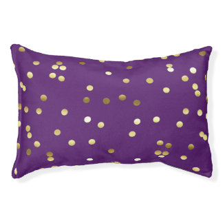 Chic Gold Foil Confetti Purple Pet Bed