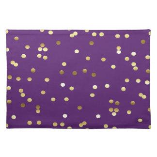 Chic Gold Foil Confetti Purple Placemat