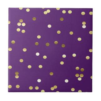 Chic Gold Foil Confetti Purple Tile