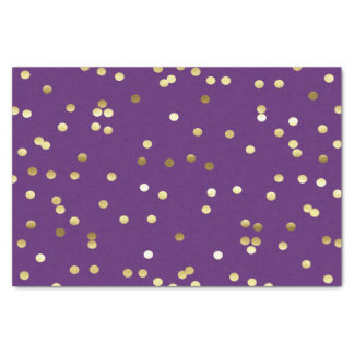 Chic Gold Foil Confetti Purple Tissue Paper