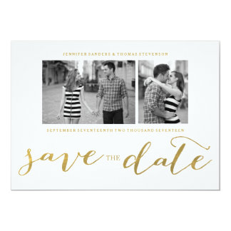 CHIC GOLD FOIL HANDWRITTEN | PHOTO SAVE THE DATE 5X7 PAPER INVITATION CARD