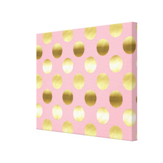 Chic Gold Foil Polka Dots Pink Canvas Print