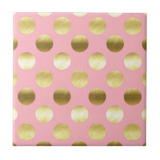 Chic Gold Foil Polka Dots Pink Ceramic Tile