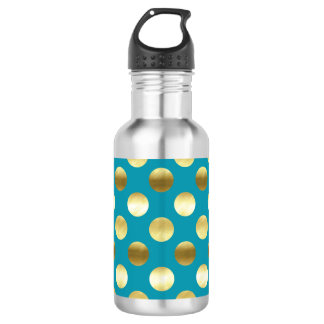 Chic Gold Foil Polka Dots Turquoise