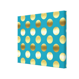 Chic Gold Foil Polka Dots Turquoise Canvas Print
