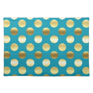 Chic Gold Foil Polka Dots Turquoise Placemat