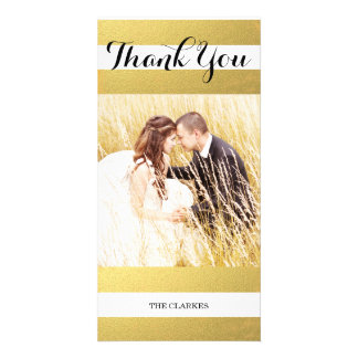 CHIC GOLD FOIL PRINT   WEDDING THANK YOU PHOTO CUSTOMIZED PHOTO CARD
