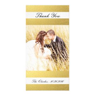 CHIC GOLD FOIL PRINT   WEDDING THANK YOU PHOTO PHOTO GREETING CARD