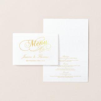 Chic Gold Foil & White Wedding Menu Card Template