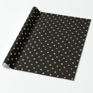 Chic Gold Glam and Black Polka Dots