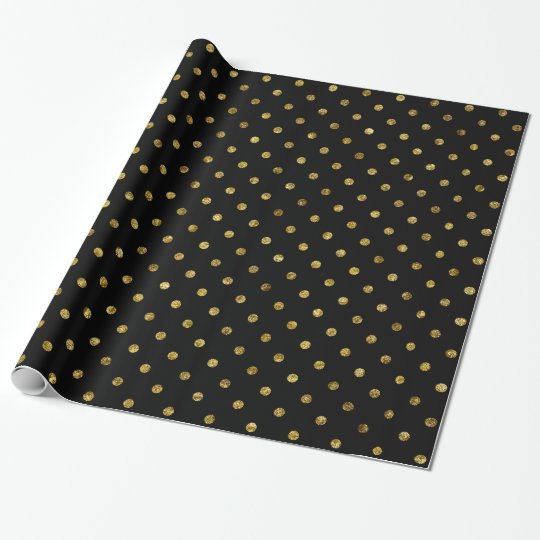 Chic Gold Glam and Black Polka Dots