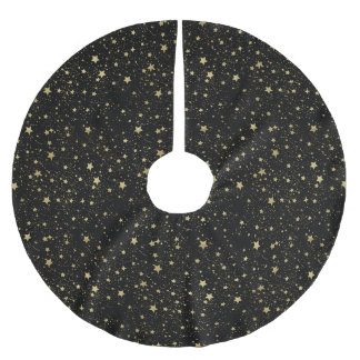 Chic Gold Glam and Black Scattered Stars Brushed Polyester Tree Skirt