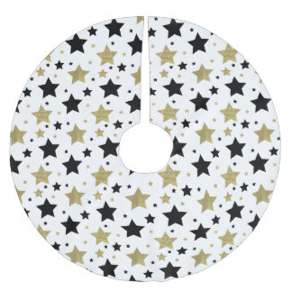 Chic Gold Glam and Black Stars Brushed Polyester Tree Skirt