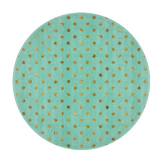 Chic Gold Glam and Mint Polka Dots Cutting Boards