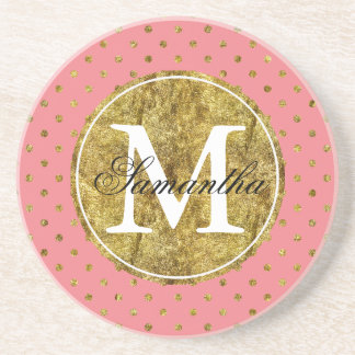 Chic Gold Glam and Pink Dots Monogram Coaster