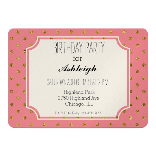 Chic Gold Glam and Pink Polka Dots birthday Card