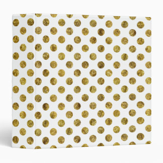 Chic Gold Glam and White Dots 3 Ring Binder