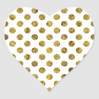 Chic Gold Glam and White Dots Heart Sticker