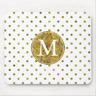 Chic Gold Glam Dots monogram Mouse Pad