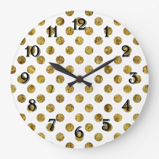 Chic Gold Glam Dots Wallclock