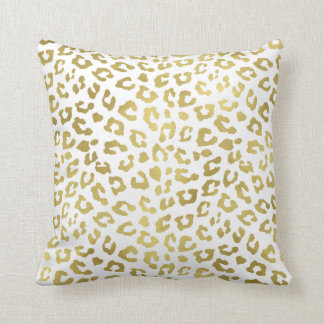 Chic Gold Glam Leopard Print Throw Pillow