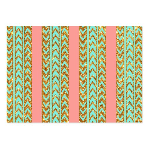 Chic Gold Glitter Arrows Pink Turquoise Stripes Business Card