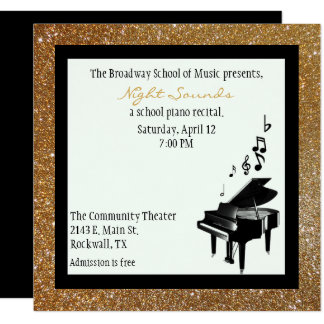 Chic Gold Glitter Look Piano Recital Invitation