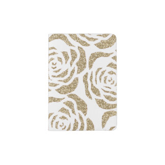 Chic Gold Glitter Roses Floral Passport Holder