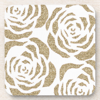 Chic Gold Glitter Roses Floral Plastic Coasters