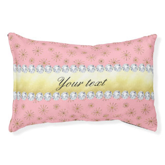 Chic Gold Glitter Snowflakes Pink Pet Bed